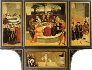 16th c. altar painting in St. Mary's Church in Wittenberg, Germany (by Cranach). The panels show the four primary ways which Christ's word of forgiveness comes to us (Holy Baptism, Lord's Supper, Office of the Keys, and Preaching).
